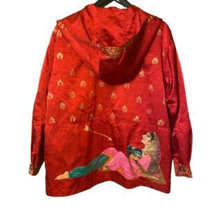 Hand painted Indian print red satin jacket